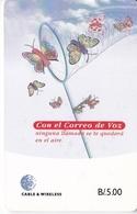 TARJETA DE PANAMA DE CABLE & WIRELESS DE B/5.00 CORREO DE VOZ (MARIPOSA-BUTTERFLY) - Panama