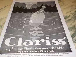 ANCIENNE  PUBLICITE EAU DE TABLE CLARISS 1928 - Affiches