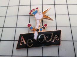 115d Pin's Pins / Rare Et De Belle Qualité !!! THEME ANIMAUX / OISEAU CIGOGNE ? AVEC COURONNE AE OCHE Par UNIVERS - Pin's