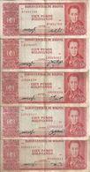 BOLIVIE 100 PESOS L.1962 VF P 163 ( 5 Billets) Sign Diff - Bolivia