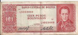 BOLIVIE 100 PESOS L.1962 VF P 163 - Bolivia