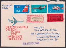 Dresden R-Eil-Brief DDR 1752 Flugzeuge II, IL-62, Hubschrauber Kamarow Ka26, Portogenau, Auf FDC-Umschlag N. Woltersdorf - [6] Democratic Republic