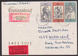 Dresden R-Eil-Brief DDR 1672/74 Albrecht Dürer  Kpl. Portogenau, Melanchton, Auf FDC-Umschlag N. Woltersdorf - [6] Democratic Republic