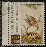 2612a France 1989 Oblitéré  Croix Rouge Soierie De Lyon Oiseau Nid - France