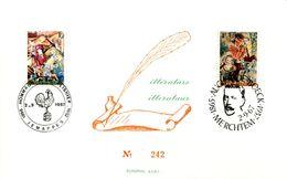 18167100 Be 19670902 Jemappes + Merchtem; Tapisseries, Ch. Plisnier, A. De Boeck, Coq; Carte 2 Oblit.  Cob1425-26 - Feuillets