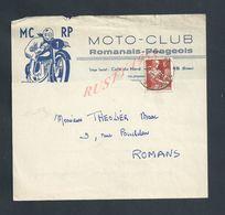 LETTRE ILLUSTRÉE SUR TIMBE MOTO CLUB ROMANAIS PÉAGEOIS ECRITE DE ROMANS 1958 : - Briefe U. Dokumente