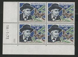 """MONACO N° 923 Cote 12 € Bloc De 4 Neuf ** (MNH) Avec Coin Daté Du 18/1/73 """"Entomologiste H. Fabre"""" - Monaco"""