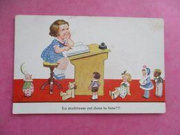 CPA ILLUSTRATEUR JOHN WILLS LA MAÎTRESSE EST DANS LA LUNE !!! JOUETS POUPÉES - Wills, John