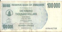 ZIMBABWE 100000 DOLLARS  BEARER CHEQUE 2006 VF P 48 B - Simbabwe