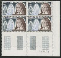 """MONACO N° 930 Cote 4 € Bloc De 4 Neuf ** (MNH) Avec Coin Daté Du 15/11/72 """"Sainte Thérèse De Lisieux"""" - Monaco"""