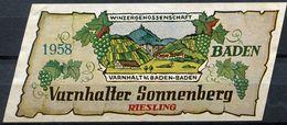 1874 - Allemagne - 1958 - Etiquette Varnhalter Sonnenberg - Riesling - Varnhalt Baden-Baden - Blancs