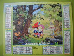 1181 Calendrier Du Facteur 1991 Thème Dessin Animé, Aladin Et Sa Lampe, Enfants,  écureuil, Lapin, Chouette, Champignons - Groot Formaat: 1991-00