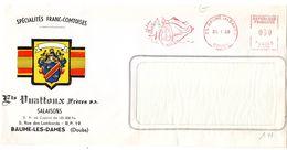 PORC - CHARCUTERIE = 25 BAUME Les DAMES 1969 = EMA Illustrée D'un JAMBON ' Salaisons VUATTOUX '  Machine T - Alimentation