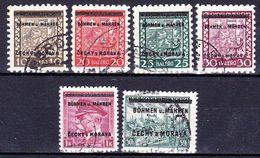 Boheme Et Moravie 1939 Mi  2-5+7+10 (Yv 2-5+7+10), Obliteré - Oblitérés