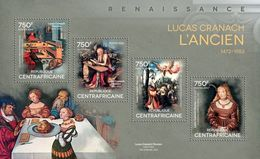 C A R - 2014 - Renaissance Painters, Lucas Cranach The Elder - Perf 4v Sheet - M N H - Central African Republic
