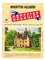 Buvard Biscottes Gregoire Levallois Perret Numero N 72 Chateau Ribeaudiere Montauban Bretagne Ile Vilaine Monument - Biscottes