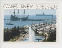 """Cannes, Porte-Avion Foch Et Galion """"Le Neptuno"""" - Voilier Du Film """"Pirates"""" (bateau De Guerre) - Cannes"""