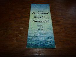 Dépliant Touristique Cunard Line  R.M.S. Franconia Scythia Samaria Se Travel Ship Travel Compagnie Maritime - Boten