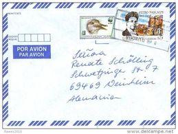 Uruguay 0,50 $ WWF Pandabär Vogel + 5 $ Pietro Mascagni Luftpostbrief - Brieven En Documenten