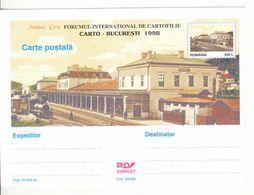 Romania   , 1998  , Predeal  , Train Station , Railway ,  Locomotive ,  Pre-paid Postcard - Trenes