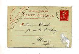 Carte Postale 10 C Semeuse Cachet Rural Abainville - Enteros Postales