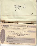 CARNET DE CHEQUES- CREDIT LYONNAIS- AGENCE DE NOISY-LE-SEC- 1930- RESTE 21 CHQ SUR 25- RARE - Chèques & Chèques De Voyage