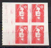 Marianne Bicentenaire N° 2874 - Bloc De 4, Avec Date, Issu De Carnet - Variété 'Maculations De Traits Rouges' - Variétés Et Curiosités