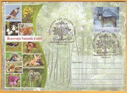 2016 Moldova Moldavie Moldau Special Cancellations. 45 Codrii Nature Reserve. Wolf, Fox, Hedgehog. - Dogs