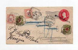 !!! ENTIER DE BOSTON DE 1908 POUR CAMBRIDGE, TAXE EN SUISSE, REEXP A VENISE ET RE-TAXE EN ITALIE - Covers & Documents