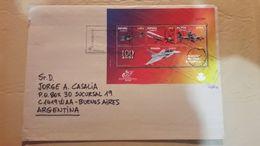 España Sobre Enviado A Argentina Con Bloque Transportes Aereos - 2011-... Lettres
