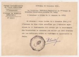 1942  DUGNY SEINE FORCES DE GENDARMERIE  PARIS MILITARIA   9 EME GROUPE BRIGADES MOTORISEES RECENSEMENT BICYCLETTES C625 - Historical Documents