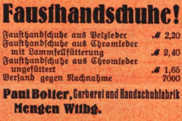 Original-Werbung/ Anzeige 1935 - FAUSTHANDSCHUHE/ GERBEREI BOLTER - MENGEN / WITTENBERG - Ca. 50 X 35 Mm - Pubblicitari