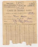 1946 CARTE DE DENREES RARES / MARIE ORAN RAVITAILLEMENT MUNICIPAL  / RATIONNEMENT   C628 - Documents Historiques