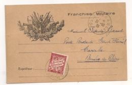 1939 CARTE EN FRANCHISE MILITAIRE AVEC TIMBRE TAXE   C629 - Marcophilie (Lettres)