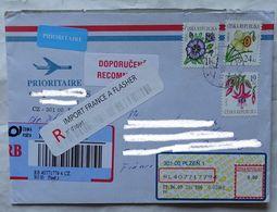 Cover Brief  Lettre Recommandé 2009  Pour La France Timbre Fleur  + Vignette R France - Czech Republic