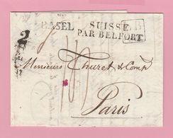M.En.5 MP BASEL 30.10.1830+ LB4K Noir/ Suisse Par Belfort =apposé à Huningue Verso Paris 2 Nov 1830 - Marcofilia (sobres)