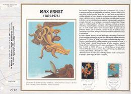 CEF Feuillet  N° 1063 Soie  -  MAX ERNST ( 1891-1976 )  -  SCEAUX   10 Oct. 1991 Et BONN 10-10-1991 - Documents De La Poste