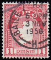 IRELAND - Scott #107 Map Of Ireland, Wmk. 262 'Postmark BAILE' (2) / Used Stamp - 1937-1949 Éire