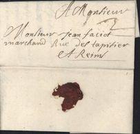 Seine 75 Lettre De Paris 1694 Pour Reims Taxe Manuscrite 3 - Marcophilie (Lettres)
