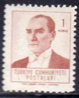 TURCHIA TURKÍA TURKEY 1961 1962 KEMAL ATATURK 1k MNH - 1921-... Republic