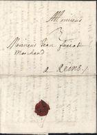 Moselle 57 Lettre De Metz 1694 Pour Reims Taxe Manuscrite 3 Avec Texte - Marcophilie (Lettres)