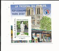 Bloc FFAP  Passion Du Timbre De 2020 - Paris  - Notre Dame - Bouquiniste - Jardin Du Luxembourg - FFAP