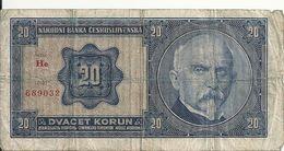 TCHECOSLOVAQUIE 20 KORUN 1926 VG+ P 21 - Czechoslovakia