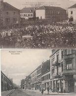 2 CPA:FORBACH (57) NATIONALSTRASSE,MILITAIRES FRANÇAIS EN 1918 GÉNÉRAL PASSAGA ÉTAT MAJOR DÉFILÉ DES TROUPES..ÉCRITES - Forbach