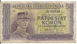 TCHECOSLOVAQUIE 50 KORUN ND1945 VG+ P 62 - Czechoslovakia