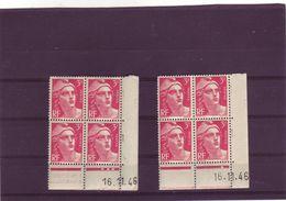 N° 716 - 3F Marianne De GANDON  - Paire BC+BD Du 28.10 Au 5.12.46 - 16.11.1946 - - Coins Datés