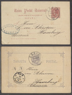 123gone. E-PROVINCIAS. 1884 - 86. Cadiz - Alemania. 2 Preciosos Enteros Postales, Uso Temprano Circulados Bonitos Matase - Spanien