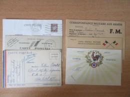 France - Guerre 39-45 6 CP Dont 5 En Franchise Militaire Et Un Entier Pétain 80c - Circulées Ou Non - Biglietto Postale