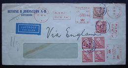 SUEDE 1944:  Henning R. Johansson A-B  Avec Oblitération Mécanique RAPID , Via England, Par Avion - Storia Postale