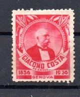 NAVIGAZIONE - GIACOMO COSTA  FU ANDREA -  1856 - 1936 - GENOVA  ERINNOFILO ETICHETTA COMMEMORATIVA - 1900-44 Vittorio Emanuele III